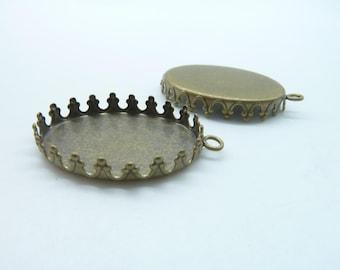 10pcs 18x25mm Antique Bronze Brass Oval  Cameo Cabochon Base Setting Pendants Charm Pendant c3201