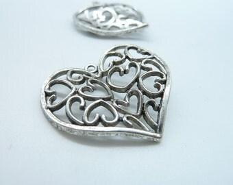 8pcs 31x36mm Antique Silver Filigree  Heart Charm Pendant c3348