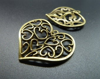 8pcs 31x36mm Antique Bronze Lovely Filigree  Heart Charm Pendant c3473