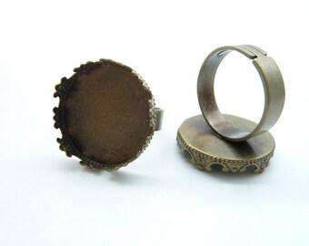 10pcs 20mm Antique Bronze Brass  Cameo Cabochon Filigree Base Setting Rings c6572