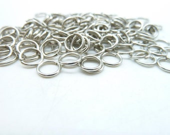 About 350pcs 7mm White K Silver Tone Jump Ring ---30g