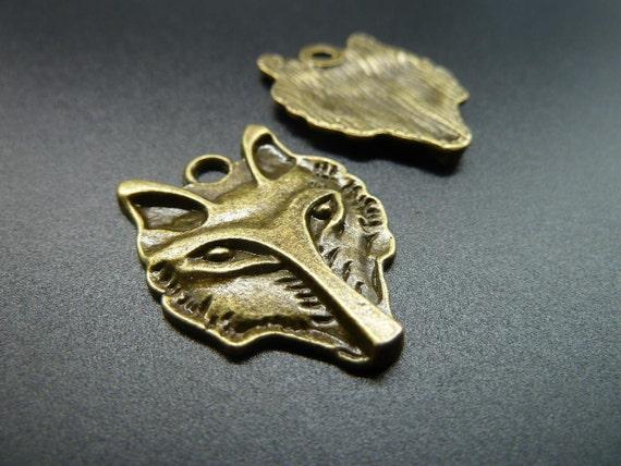 10pcs 25x32mm Antique Bronze  Wolf Head Charms Pendant C3441