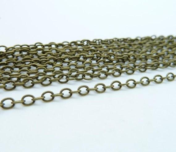 5meter  2x3mm Antique  Bronze Brass  Flat Oval Chain E1008