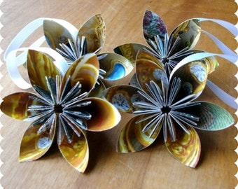 Recycled Ornaments Golden Jewels - Paper Flower Set of 4 - Eco Friendly Holiday, Holiday Decor