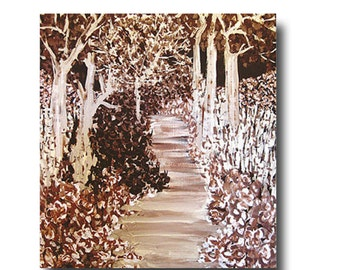 impressionism painting, landscape painting, artist like monet, brown and white, wall art in browns, brown painting, shades of brown