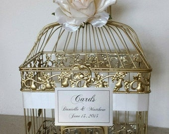 Large Gold Bird Cage-Wedding card holder