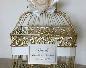 Ivory Rose -Gold Bird Cage-Wedding card holder