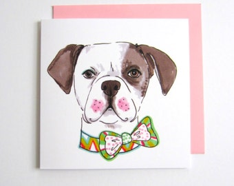American Bulldog In Patterned Bow Tie. Cute. Dog Lover. 5.5 Inch Square. Blank. Greeting Card