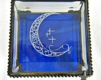 Glass Box Celestial Wedding Themed Crescent Moon Keepsake Box Moon Gift For