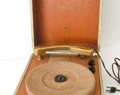 Vintage 1950s Columbia 312 Portable Record Player, 3 Speeds, All Original