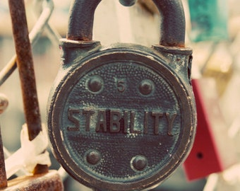 Stability, Lock, Strong, Romantic, Peach, Cream, Padlock, red, gray, green, Love Lock, photograph