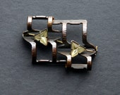 Vintage Green Stones Brooch Pin Brass Rustic Industrial Steampunk Art Jewelry