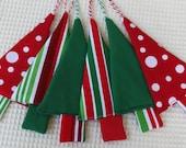 CLEARANCE SALE Set of 6 Christmas Tree Ornament Fabric Christmas Decoration