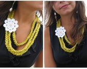 Mustard Yellow Crochet Necklace - Yellow Mustard Crochet Strand Necklace with White Flower