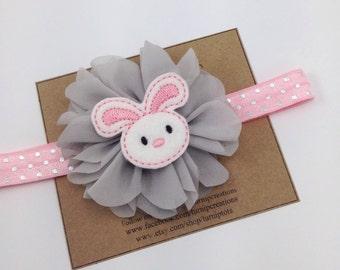 Pink Easter Headband Easter Bunny Headband Spring Headband Gray Silver Pilka Dots Ballerina Flower Headband Photo Prop