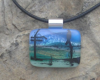 Bird Pendant Dichroic Fused Glass Nature Necklace