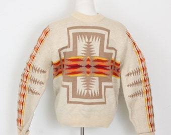 Vintage Wool Pendelton Ski Sweater / 60's 70's / Southwestern Design Sweater / Mens L