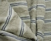 Pure  linen fabric with white and dark blue stripes-natural fabric-ecofriendly-washed 4 yards