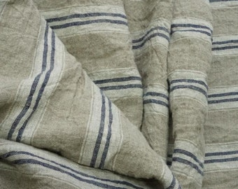 Pure  linen fabric with white and dark blue stripes-natural fabric-ecofriendly-washed