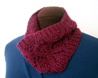 Knitted Cowl - cranberry red wool neckwarmer