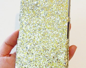Sony Ericsson Xperia Z2 Silver & Gold Specks Sequin Cluster Cell Phone Bling Hard Case Cover