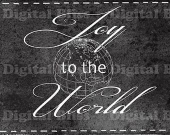 Holiday Decor Download Chalkboard Christmas Joy to the World Original Design Merry Christmas Sign Black & White Calligraphy Writing