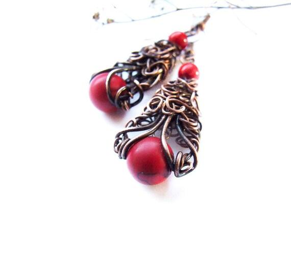 Fire Earrings, Red Howlite Boho Jewelry, Red Fire Earrings, Rustic Wire Wrapped Copper Earrings