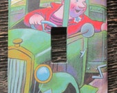 The Happy Man and His Dump Truck Switch Plate / Upcycled / Recycled