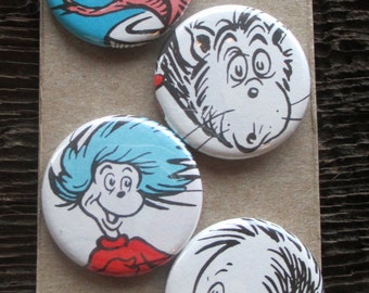 The Cat in the Hat Magnet Set of 4 / Upcycled / Recycled / Awesome