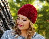 Cozy Woman's Winter Hat in Red with Flower- Other colors available