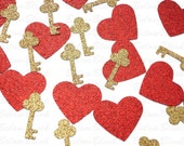 50 Glittered Red Gold Hearts and Keys Confetti, Valentine's Day Decorations, Paper Crafts and Party Supplies - No288