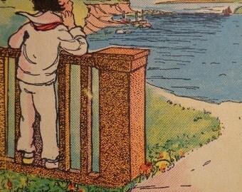 Orig 1930s Children's Bookplate Illustration, Sailor Boy Scene, MORE in shop Color, Blk White, ART DECO Vibe, Frame Decoupage Room Nursery