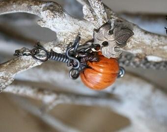 Orange Pumpkin Necklace - Autumn Harvest Necklace - Fairy Pumpkin Patch - Fall Necklace - Thanksgiving - Leaf Dangle - Cinderella
