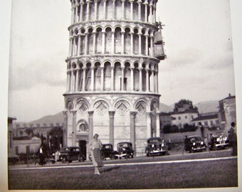 Vintage Leaning Tower Pisa Black and White Photo 1930s Reprint 1990 Pisa Italy Tower of Pisa Italy Photography World Tour