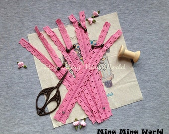 5 PCS Pink Lace Zippers Supplies Trim, Fabric Crafts Alterations Supplies Handmade Fabric Supplies(Z1)