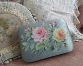 Antique French Chocolate Candy Box Hand Painted Roses Pink Yellow Flowers On Blue Silk Gold Lame Ribbon