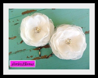 Bridal Hair Pins, Wedding Hair Flowers, Bride/Bridesmaid Hair Accessory, Lace Hair Flowers, Bridal Hair Flower, MANY COLORS AVAILABLE