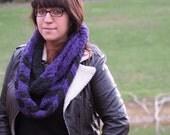 Crochet Chevron Scarf / Handmade Infinity Scarf / Long Scarf / Purple Scarf / Womens Scarf Ready to Ship
