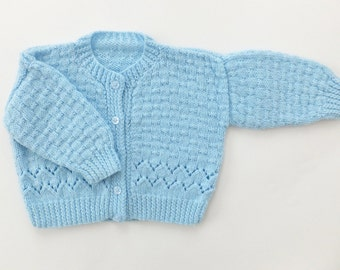 Vintage Baby Cardigan, Hand-knitted baby cardigan, Blue Cardigan, Baby Boy Clothing, Baby Blue Winter Baby Clothes