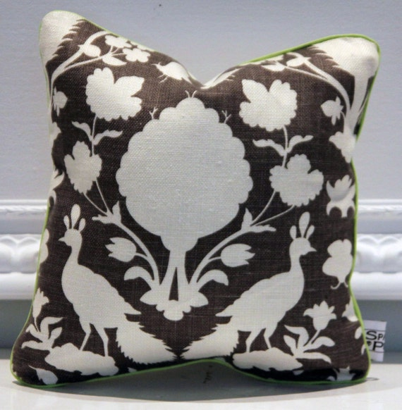 "READY TO SHIP - 16 x 16"" Pillow Cover - Schumacher Cheonceau in Charcoal with Lime Green Trim"
