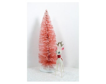 PINK - Hand Dyed and Glittered Bottle Brush Christmas Tree - Vintage Cottage Chic Holidays - 1 Tree 12 inch