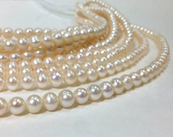 High Luster 7 mm A Grade Freshwater Pearl Off Round Beads - White - Bridal Bridesmaid Pearl Ship from USA (G2454W48Q3)
