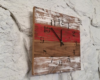 14 x 14 Red White Barn Wood Clock Rustic Home Decor Antique Wood Distressed Farmhouse Cottage College Decor Sports Wall Hanging Football