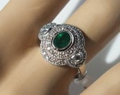 0.73ct Emerald & .35ct Diamond Cocktail Ring 14K White Gold, Size 6.75