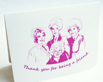 Golden Girls Card -  Thank You for being a Friend Card - single thank you note in pink - retro, vintage, 80's, bridesmaids