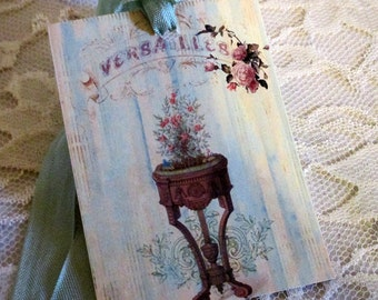 French Gift Tags, Antoinette Gift Tag, French Gift Tag, Mixed Media Art Tag, Wedding Gift Topper, Paris Gift Tag, Versailles Gift Tag  ECS