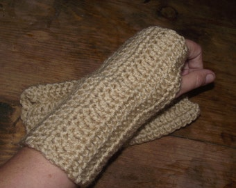 Buff Tan Crochet Fingerless Glove/ Wrist Warmers