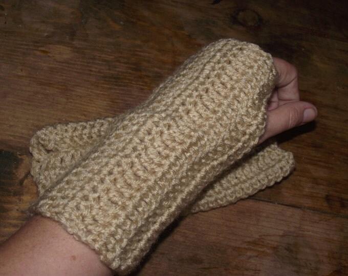 Buff Tan Crochet Fingerless Glove/ Wrist Warmers