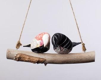 Love Birds - Engagement Gift - Wedding Gift - Bird Swing, Bird Mobile in Black and White