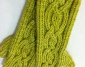 Hand Knit Long Cabled Fingerless Gloves in Chartreuse